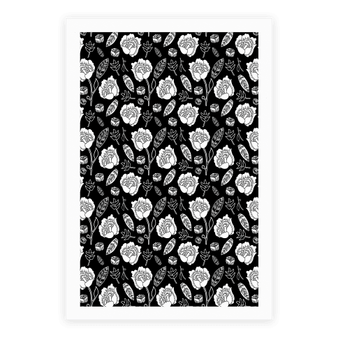 Floral and Leaves Pattern (Black) Poster