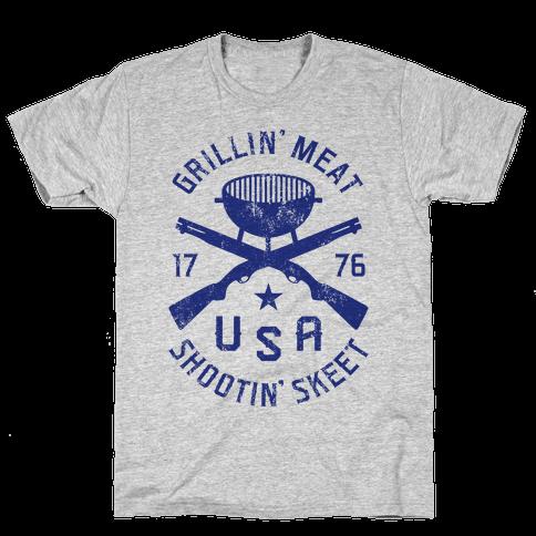 Grillin' Meat Shootin' Skeet Mens T-Shirt