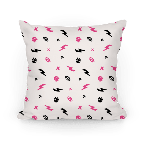 Punk Rock Pattern (White) Pillow