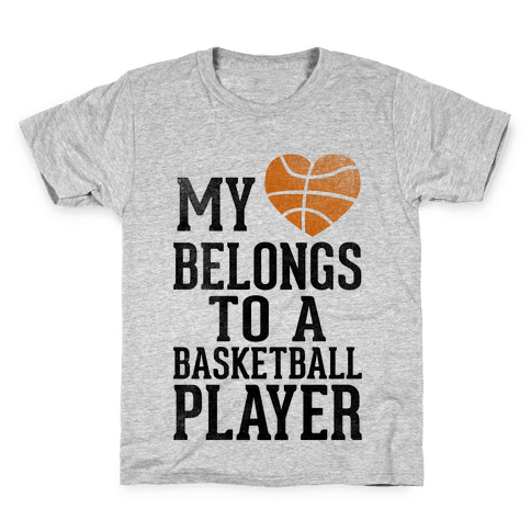 My Heart Belongs to a Basketball Player (Baseball Tee) Kids T-Shirt