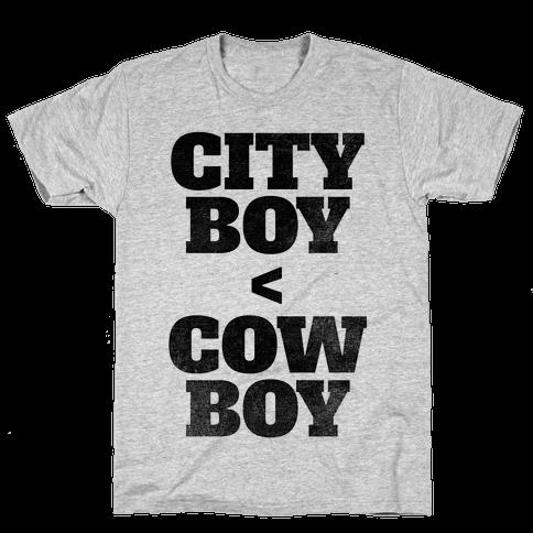 City Boy < Cowboy Mens T-Shirt