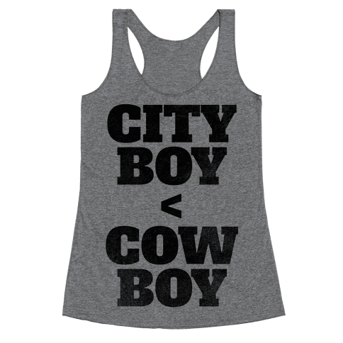 City Boy < Cowboy Racerback Tank Top