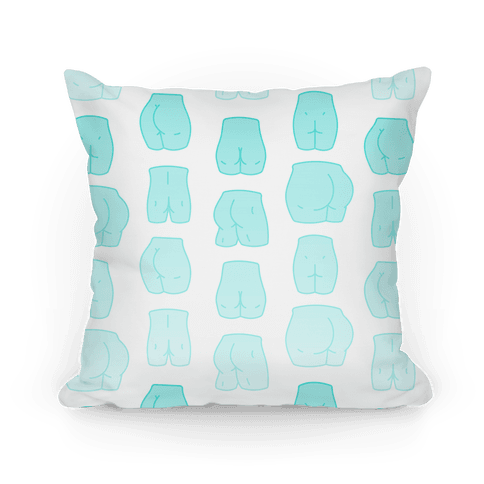 Teal Pastel Butt Pattern Pillow