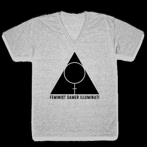 Feminist Gamer Illuminati V-Neck Tee Shirt