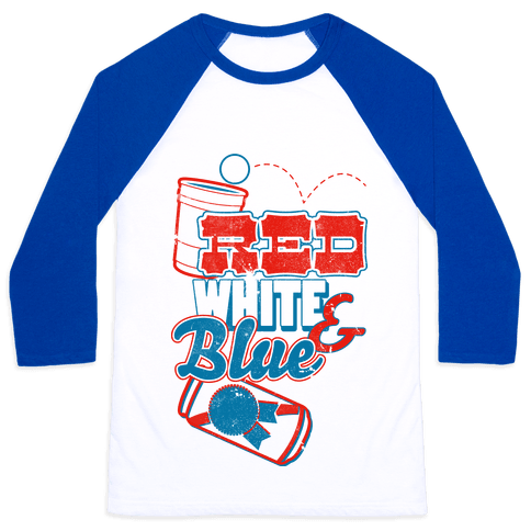 Red White and Blue Baseball Tee