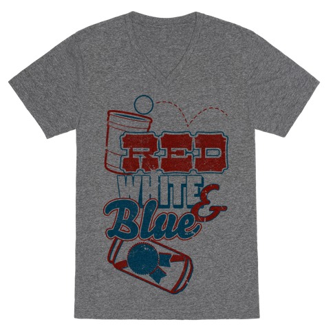 Red White and Blue V-Neck Tee Shirt