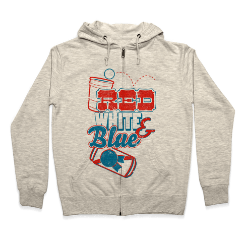 Red White and Blue Zip Hoodie