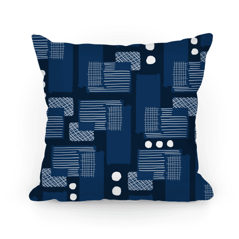 Navy Geometric Pattern Pillow