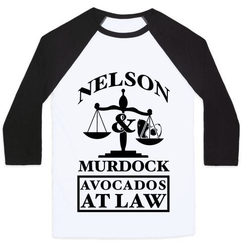 Nelson & Murdock Avocados At Law Baseball Tee
