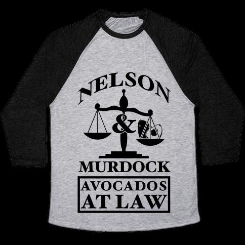 Nelson & Murdock Avocados At Law Baseball Tee