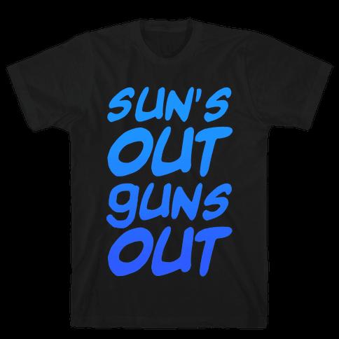 Sun's Out Guns Out (Blue) Mens T-Shirt