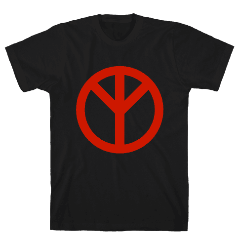 Reversed Peace Sign Mens T-Shirt