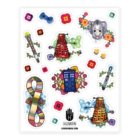 Watercolored Icons of Doctor Who Sticker and Decal Sheet