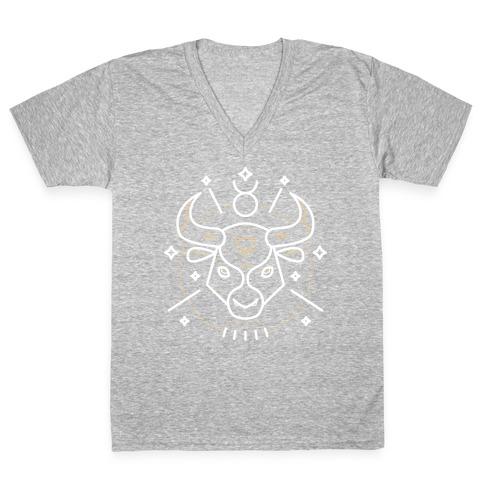Astrology Taurus Bull V-Neck Tee Shirt