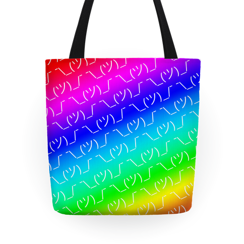 Emoticon Shrugs Rainbow Gradient Tote