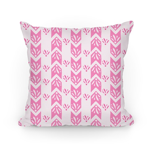 Pink Floral Chevron Pattern Pillow