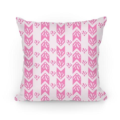 Pink Floral Chevron Pattern Pillow