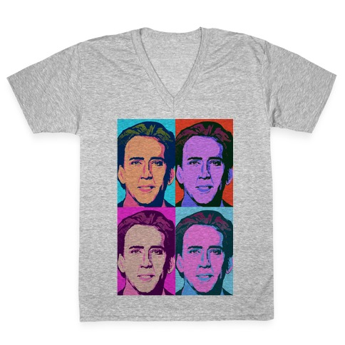 Nicholas Cage Pop Art Parody V-Neck Tee Shirt