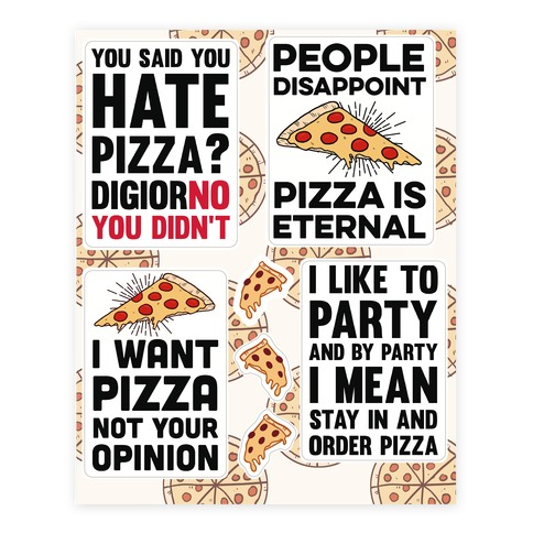 Funny Pizza Sticker and Decal Sheet