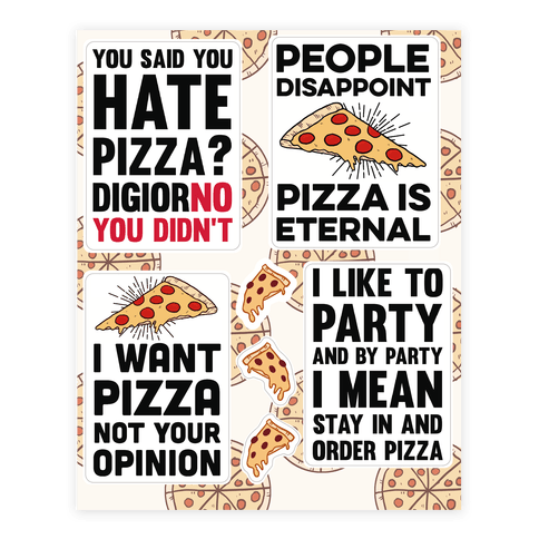 Funny Pizza  Sticker/Decal Sheet