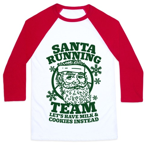 Santa Running Team Baseball Tee