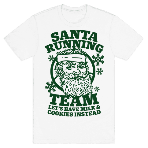 Santa Running Team Mens T-Shirt