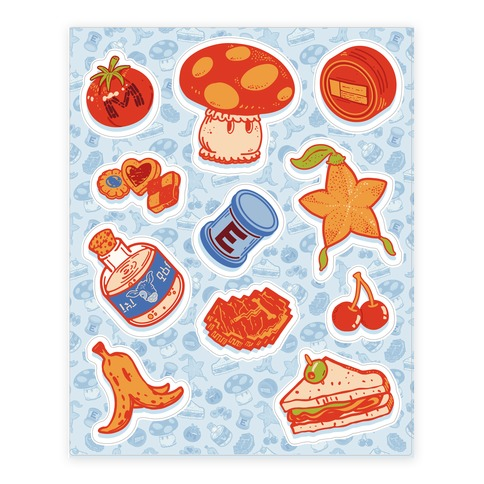 Gamer Food Items Sticker and Decal Sheet