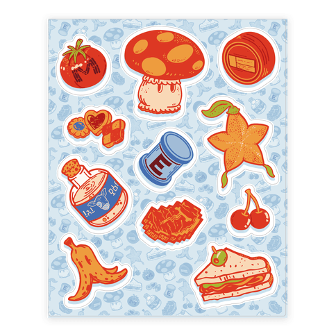 Gamer Food Items Sticker/Decal Sheet