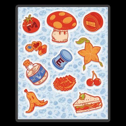 Gamer Food Items Sticker/Decal Sheet