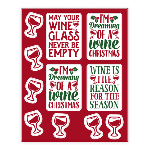 Wine Christmas  Sticker/Decal Sheet