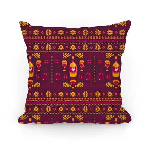 Ugly Wine Christmas Sweater Pattern Pillow