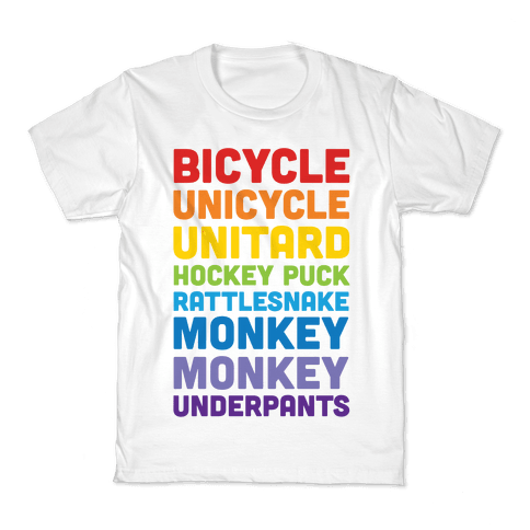 Bicycle Unicycle Unitard Hockey Puck Rattlesnake Monkey Monkey Underpants Kids T-Shirt