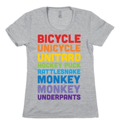 Bicycle Unicycle Unitard Hockey Puck Rattlesnake Monkey Monkey Underpants Womens T-Shirt