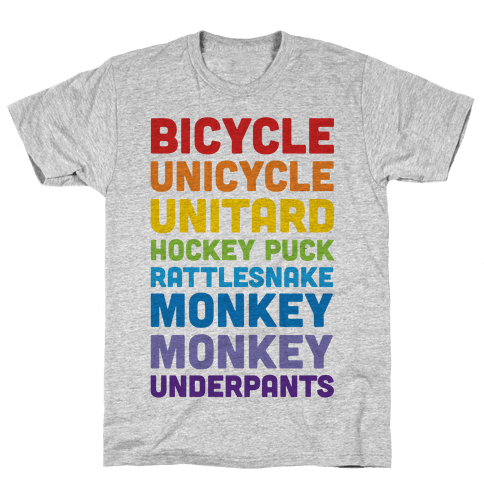 Bicycle Unicycle Unitard Hockey Puck Rattlesnake Monkey Monkey Underpants Mens T-Shirt