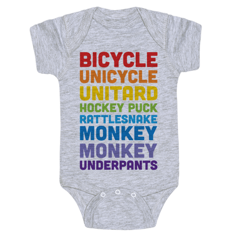 Bicycle Unicycle Unitard Hockey Puck Rattlesnake Monkey Monkey Underpants Baby Onesy