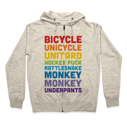 Bicycle Unicycle Unitard Hockey Puck Rattlesnake Monkey Monkey Underpants Zip Hoodie