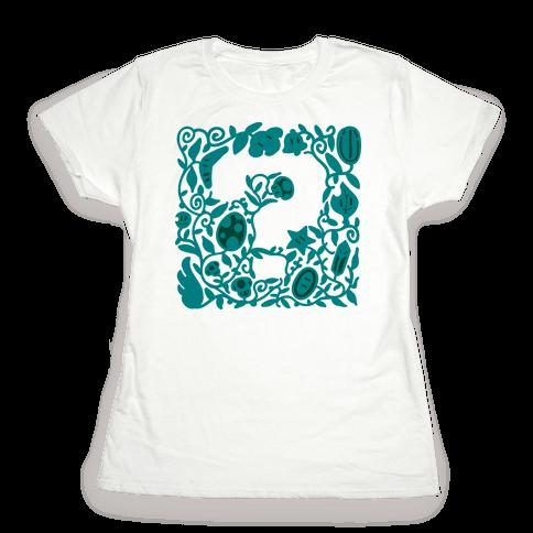 Floral Question Block Womens T-Shirt