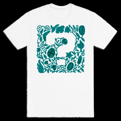 Floral Question Block Mens T-Shirt