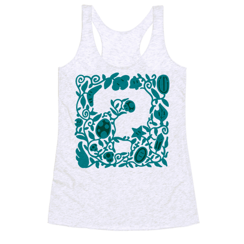 Floral Question Block Racerback Tank Top