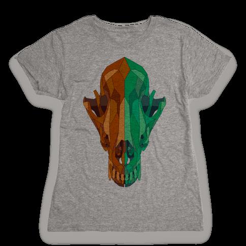 Geometric Coyote Skull Womens T-Shirt
