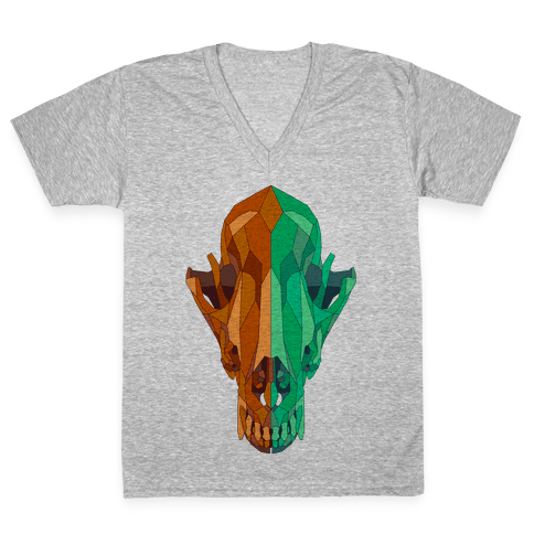Geometric Coyote Skull V-Neck Tee Shirt