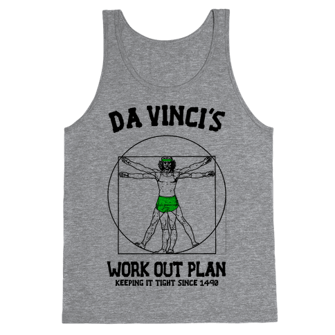 Da Vinci's Work Out Plan (Green) Tank Top