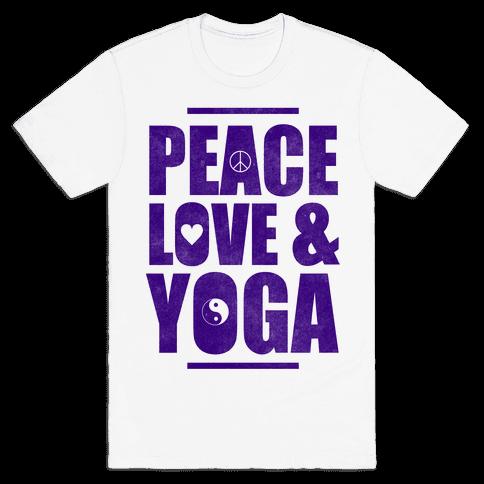 Peace Love & Yoga Mens T-Shirt
