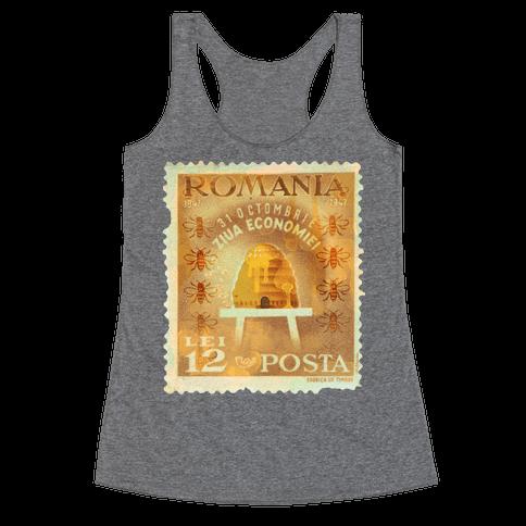 Romanian Bee Stamp Racerback Tank Top