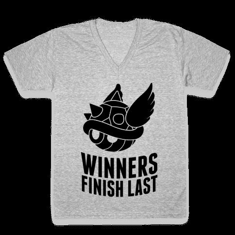 Winners Finish Last In Mario Kart V-Neck Tee Shirt