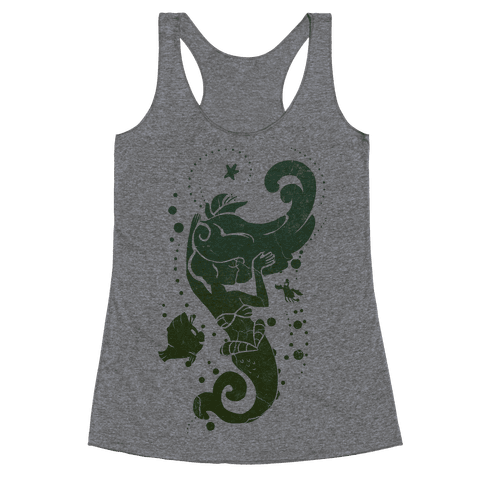 Sea Green Mermaid Princess Splash Racerback Tank Top