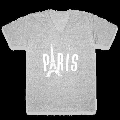 Paris (on dark) V-Neck Tee Shirt
