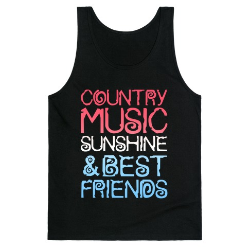 Country Music, Sunshine & Best Friends (Red White & Blue) Tank Top