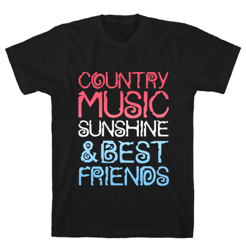 Country Music, Sunshine & Best Friends (Red White & Blue) Mens T-Shirt