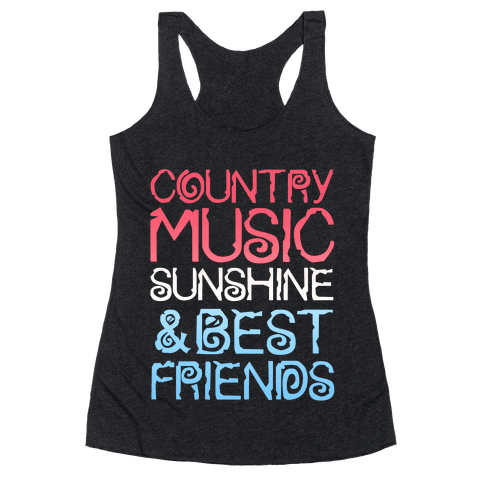 Country Music, Sunshine & Best Friends (Red White & Blue) Racerback Tank Top